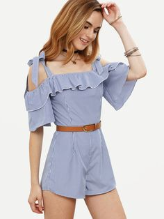 Blue Striped Ruffle Bow Cold Shoulder Jumpsuit