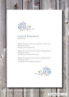 Schlicht, schön und romantisch: Personalisierter Segenswunsch für Verliebte, Verlobte und Verheiratete - individuell gestaltet mit den Namen und dem Hochzeits- oder Verlobungsdatum des Paares....