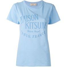 Maison Kitsuné Logo Print T-shirt (772.735 IDR) ❤ liked on Polyvore featuring tops, t-shirts, blue top, blue t shirt, logo design t shirts, maison kitsuné and blue tee
