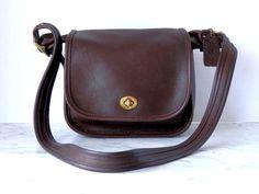 Coach Messenger Cross Body Bag // Small Dark Reddish Brown Leather