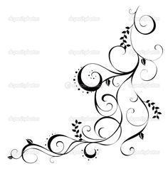 line drawings of vines and flowers | Vines and leaves pattern - Stock Image
