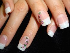 French manicure w/ White glitter tip with flowers