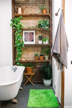 Budget Bathroom, Bathroom Interior, Bathroom Ideas, Bathroom Storage, Brick Interior, Interior Modern, Decoration Plante, Brick Tiles, Brick Wall