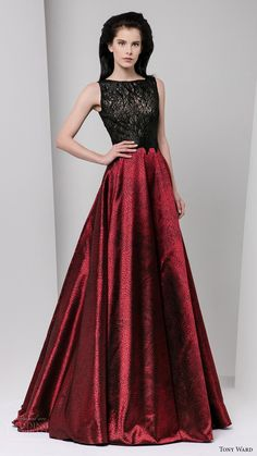 tony ward fall winter 2016 2017 rtw sleeveless bateau neck illusion bodice a line evening dress black top red skirt
