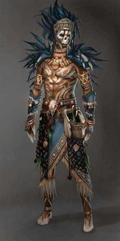 Character design and concept development - Guild Wars Voodoo Male YeeWu Fantasy Warrior, Fantasy Rpg, Medieval Fantasy, Fantasy Witch, Character Concept, Character Art, Concept Art, Dnd Characters, Fantasy Characters