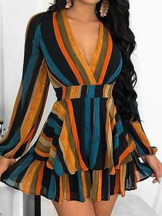 Multi Color Stripes Layered Ruffles Mini Dress We Miss Moda is a leading Women's Clothing Store. Casual Dresses For Women, Girls Dresses, Summer Dresses, Clothes For Women, Dress Casual, Long Dresses, Elegant Dresses, Dress Long, Sexy Dresses