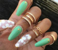 Mint green. Floral. Spring time nails