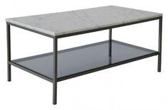 Soffbord-Lågt-marmor-Glas-Hylla-Grå-Ascot-Rektangulärt