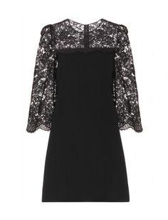 Dolce & Gabbana - Lace-trimmed crepe dress