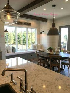 Love The Granite Window Seat Area In Dining Room And Also Really Am Thinking I Want To Do Exposed Beam Look