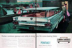 1959 Pontiac Catalina Station Wagon Classic Vintage Print Ad