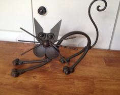 Handmade Scrap Metal Little Cat Sculpture Yardart by TeenysAttic