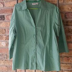 Cato button down Green and white gingham quarter sleeve button down. V neck line. Sleeve ends have button then a slight split. Very gently used. Cato Tops Button Down Shirts