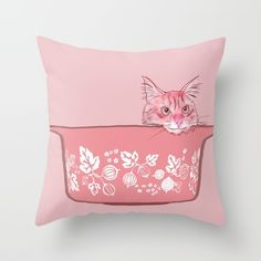 Cat in Bowl #1 Throw Pillow