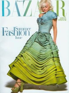 Gwen Stefani in Blue and Green Ombre Dior Haute Couture 2007 Dress on the Cover of Harper's Bazaar