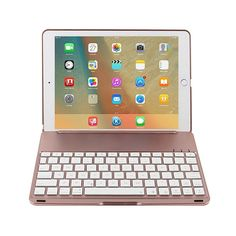 niceEshop(TM) IPad Pro 9.7 Air 2 Backlit Keyboard Case ABS Stand Smart Cover with LED 7 Colors Backlits Bluetooth Keyboard Folios Case Cover for IPad Pro 9.7 Air 2, Rose Gold