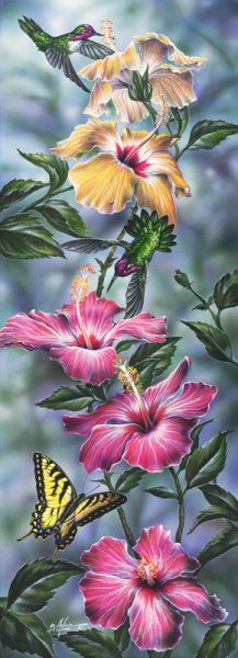Hummingbirds and Hibiscus - Bill Adair - Art for Conservation Art Floral, Silk Painting, Painting & Drawing, Bird Art, Belle Photo, Beautiful Birds, Love Art, Painting Inspiration, Watercolor Paintings