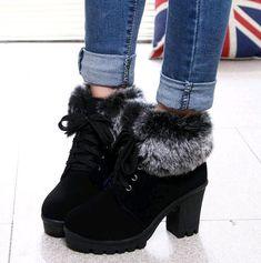 New fashion Lace-up women boots 2018 new plus velvet keep warm high heel boots b… Neue Mode Lace-up Frauen Stiefel 2018 neue plus Samt warm halten High Heel Stiefel Stiefel Damen Schuhe Frau Winterstiefel Lace Up High Heels, Chunky High Heels, Lace Up Ankle Boots, High Heel Boots, Womens High Heels, Heeled Boots, Shoe Boots, Fur Boots, Ankle Booties
