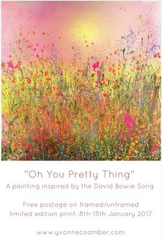 To mark what would have been the great David Bowie's 71st birthday I am offering free postage on one of my favourite limited edition prints. 'Oh You Pretty Thing' A painting inspired by one of my favourite songs.Free postage on framed/unframed limited edition print. 8th-15th January 2018. Simply use the code 'ziggy' at the checkout!
