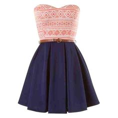 red white and blue tribal print strapless skater dress and other apparel, accessories and trends. Browse and shop related looks.