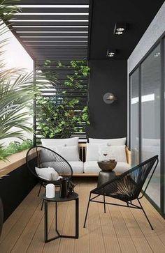 modern outdoor seating area, modern outdoor furniture, modern outdoor living room with outdoor sofa and black house Modern Outdoor Living, Modern Balcony, Small Balcony Decor, Modern Outdoor Furniture, Outdoor Decor, Balcony Ideas, Balcony Garden, Outdoor Sofa, Modern Patio