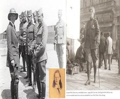 Flora Sandes as she fought WWI with the Serbian Army and (small picture) her as a young spirited girl.