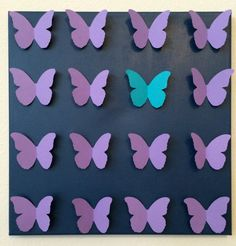 3D Handmade Blue Butterflies on Violet Painted by LarlenDesigns