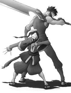 Haku and Zabuza by half-orc-77