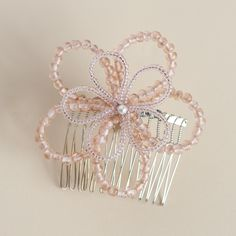 Everyday or special occasion :)  Large double loop flower handmade beaded hair comb.