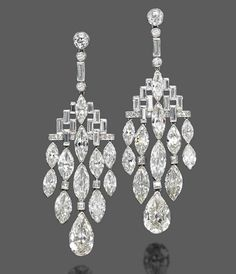 A pair of Art Deco diamond ear pendants, by Bulgari. Photo Christie's Image Ltd 2013