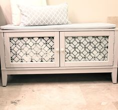 Repurposed cabinet into a bench with storage