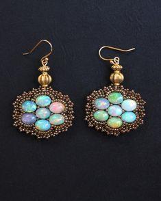 Ethiopian Opal Cluster Earrings www.fariasiddiqui.com