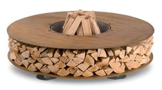 The Zero Fireplace combines modern design and a rustic aesthetic with ingenious firewood storage.