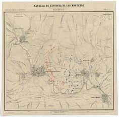 """Battle of Espinosa de los Monteros 10 and 11 November 1808. Action Day 11.also includes the next to Espinosa de los Monteros towns, such as Quintana de los Prados, Lomo de Montija and Barcenas de Espinosa relief represented by contour lines Indica in carmine and blue the positions of the Spanish and French armies respectively belongs to: """"Atlas of the War of Independence"""". Print 6th Scale 1: 20,000"""
