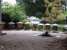 The honey bee apiary at Paris' Luxembourg Garden includes a hexagonal pond that exists completely in service to the bees. Bee geometry. :-) Jardin du Luxembourg, Paris, France