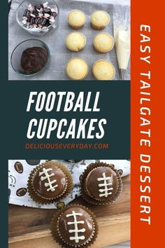 These adorable football cupcakes are the perfect treat for your next tailgate party. Rich vanilla cupcakes are topped with fun football themed decorations, made from Tootsie Rolls and vanilla frosting. #superbowl #gamedaydessert #gameday #tailgateparty #football #dessert #snacks Chocolate Sweets, Chocolate Lovers, Chocolate Recipes, Vanilla Frosting, Vanilla Cupcakes, Tailgate Desserts, Tootsie Rolls, Football Cupcakes, Food And Drink