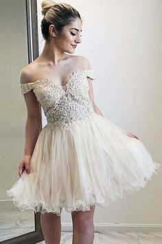 Customized Popular Short Homecoming Dress Off-the-Shoulder Appliques Beaded Homecoming Dresses,Short Prom Dresses Best Formal Dresses, Dresses Short, Sweet 16 Dresses, Popular Dresses, Dresses For Teens, Ball Dresses, Cheap Dresses, Prom Dresses, Dress Prom