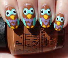 Owl Manicure Nail Art