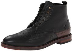 $183, Black Leather Brogue Boots: Hudson H By Harland Boot. Sold by Amazon.com. Click for more info: https://lookastic.com/men/shop_items/278603/redirect