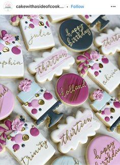 Iced Cookies, Cake Cookies, Sugar Cookies, Cupcake Cakes, Cupcakes, Birthday Cookies, 80th Birthday, Girl Birthday, Birthday Ideas