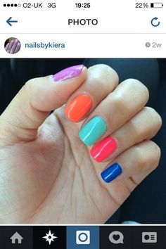 Multicoloured GELeration manicure created by Nails by Kiera.