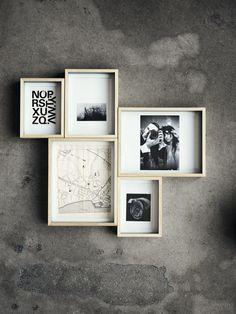 Box frames. Concrete wall.
