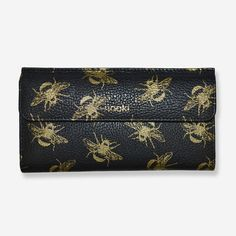 Berry Bee Print Gold and Black Leather Purse
