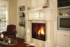 fireplace with built in cabinets Fireplace Built Ins, Fireplace Mantle, Fireplace Surrounds, Fireplace Design, Fireplace Ideas, Stone Fireplaces, Fireplace Bookshelves, Mantle Ideas, Custom Fireplace