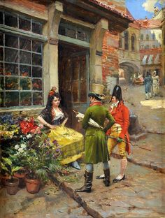 At the Florist by Henri Victor Lesur (French, 1863-1900)
