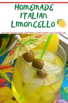 Homemade Italian Limoncello Limoncello Cocktails, Homemade Limoncello, Easy Cocktails, Cocktail Drinks, Cocktail Recipes, Drinks Alcohol Recipes, Yummy Drinks, Drink Recipes, Cold Drinks