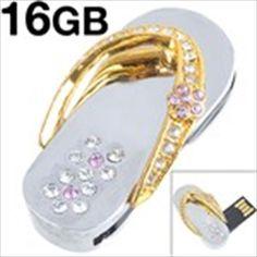 Slipper Design 16GB Memory USB 2.0 Flash Drive U Disk Rhinestones Jewelry Pendant with Neck Chain $23.15