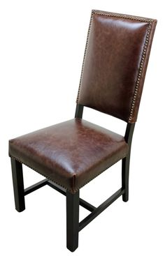 Genuine Leather Dining Chairs - Home Furniture Design Tuscan Furniture, Rustic Furniture, Home Furniture, Furniture Design, Leather Dining Chairs, Dining Room Chairs, Side Chairs, Tuscan Style, Weathered Wood