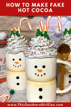 Christmas Crafts: How To Make Fake Whipped Cream/ Fake Hot Chocolate/ Fake Hot Cocoa Mug Topper Diy Christmas Mugs, Christmas Presents For Girls, Merry Little Christmas, Holiday Crafts, Christmas Ideas, Christmas Mantles, Diy Whipped Cream, Diy Becher, Chocolate Crafts