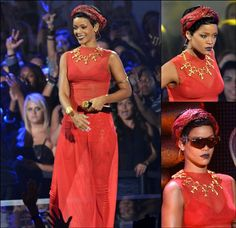 The 2012 MTV Video Music Awards  Rihanna switches things up for her performance and still holding on to that class from the red carpet. She again is wearing a Top custom made by Adam Selman, Balenciaga leather pants and Jeremy Scoot sunglasses.